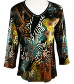 Jess & Jane, 3/4 Sleeve, Rhinestone Highlights, V-Neck, Black Colored Cotton Fashion Top - Tribal
