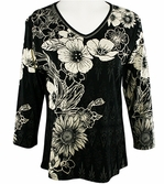Jess & Jane, 3/4 Sleeve, Rhinestone Highlights, V-Neck, Black Colored Cotton Fashion Top - Wild Flowers