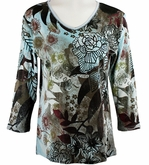 Jess & Jane, 3/4 Sleeve, Rhinestone Highlights, V-Neck, Blue Colored Cotton Fashion Top - Blue Flowers