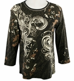 Jess & Jane,  3/4 Sleeve, Rhinestone Highlights, V-Neck, Charcoal Colored Cotton Fashion Top - Caprice