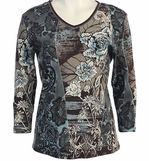 Jess and Jane, 3/4 Sleeve, Rhinestone Highlights, V-Neck, Chocolate Colored Fashion Top - Blue Stitches