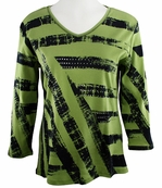 Jess & Jane, 3/4 Sleeve, Rhinestone Highlights, V-Neck, Green Colored Cotton Fashion Top - Stripes