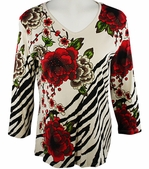 Jess & Jane 3/4 Sleeve, Rhinestone Highlights, V-Neck, Natural Fashion Top - Lotus Flower