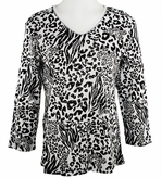 Jess & Jane, 3/4 Sleeve, Rhinestone Highlights, V-Neck, White Colored Cotton Fashion Top - Animal Pattern
