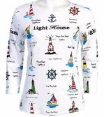 Jess & Jane, 3/4 Sleeve, Rhinestone Studded, Printed Cotton, Scoop Neck White Top - Lighthouse
