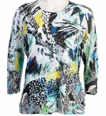 Jess & Jane, 3/4 Sleeve, Ruffle Accents, Scoop Neck, Multi Colored Sublimation Print Women's Fashion Top - Adventure