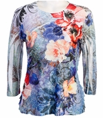 Jess & Jane, 3/4 Sleeve, Ruffle Accents, Scoop Neck, Multi Colored Sublimation Print Women's Fashion Top - Dejavu
