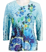 Jess & Jane, 3/4 Sleeve, Ruffle Accents, Scoop Neck, Multi Colored Sublimation Print Women's Fashion Top - Desert Garden