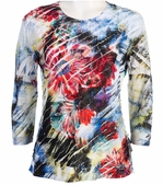 Jess & Jane, 3/4 Sleeve, Ruffle Accents, Scoop Neck, Multi Colored Sublimation Print Women's Fashion Top - Emptions
