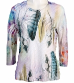 Jess & Jane, 3/4 Sleeve, Ruffle Accents, Scoop Neck, Multi Colored Sublimation Print Women's Fashion Top - Feather Imo