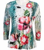 Jess & Jane, 3/4 Sleeve, Ruffle Accents, Scoop Neck, Multi Colored Sublimation Print Women's Fashion Top - Painted Bloom