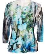 Jess & Jane, 3/4 Sleeve, Ruffle Accents, Scoop Neck, Multi Colored Sublimation Print Women's Fashion Top - Soledine