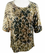 Jess & Jane - Animal Haze Short Sleeve Cold Shoulder Scoop Neck Sequin Accents