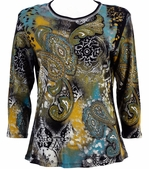 Jess & Jane - Art Deco Knit Cotton Top 3/4 Sleeve Scoop Neck Rhinestone Accents
