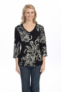 Jess & Jane - Artifact, Black Knit Top 3/4 Sleeve V-Neck Rhinestone Accents