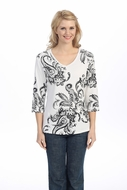 Jess & Jane - Artifact, White Knit Top 3/4 Sleeve V-Neck Rhinestone Accents