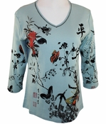 Jess & Jane Asian Butterfly Top Scoop Neck Rhinestones Contemporary Cotton Blue