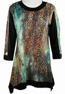 Jess & Jane - Blue Cheetah, Sublimation Block Print Long Sleeve Scoop Neck Tunic