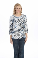 Jess & Jane - Blue Wave, Knit Top 3/4 Sleeve Scoop Neck with Rhinestone Accents