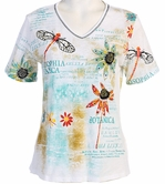 Jess & Jane Botanic Cotton Black Top Printed Tee Short Sleeve V-Neck w Rhinestone