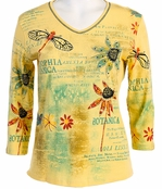 Jess & Jane Botanic Cotton Yellow Top Printed Tee 3/4 Sleeve V-Neck w Rhinestone