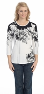 Jess & Jane - Bouquet, Knit Top 3/4 Sleeve Scoop Neck with Rhinestone Accents