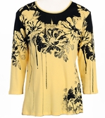 Jess & Jane - Bouquet, Yellow Knit Top 3/4 Sleeve Scoop Neck Rhinestone Accents