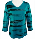 Jess & Jane Brush Art II Teal Blue Knit Blouse Floral 3/4 Sleeve V-Neck Cotton