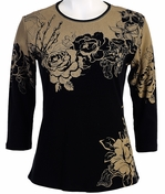 Jess & Jane Canon Rose Cotton Black Top 3/4 Sleeves Round Neck w Rhinestone