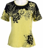 Jess & Jane Canon Rose Jersey Slub Cotton Top Yellow Short Sleeves Round Neck