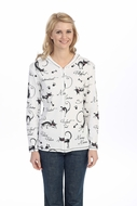 Jess & Jane - Cat Doodle, Hoodie Top Long Sleeve with Rhinestone Accents