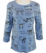Jess & Jane Cats World Top Scoop Neck 3/4 Sleeve W/Rhinestones Cotton Pale Blue