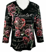 Jess & Jane - Chocolat, Knit Top 3/4 Sleeve Scoop Neck Rhinestone Accents