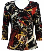 Jess & Jane Colorama Black Knit Top Floral Print Blouse 3/4 Sleeve V-Neck Cotton