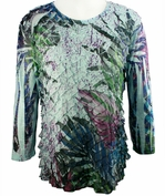 Jess & Jane - Croton 3/4 Sleeve Scoop Neck Ruffled Sublimation Top