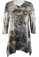 Jess & Jane - Deluxe Floral 3/4 Sleeve Lightweight Sharkbite Burnout Tunic