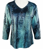 Jess & Jane - Denim Effect, 3/4 Sleeve V-Neck Single Fiber Knit Jersey Top