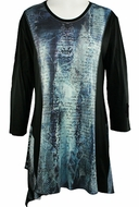 Jess & Jane - Denim Effect, Sublimation Block Print Long Sleeve Scoop Neck Tunic