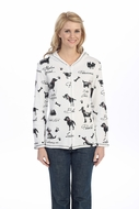 Jess & Jane - Dog Doodle, Hoodie Top Long Sleeve with Rhinestone Accents