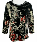 Jess & Jane - Floral Bicycle Black Knit Top 3/4 Sleeve Scoop Neck Rhinestone Accents