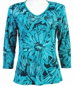 Jess & Jane Floral Etchings Teal Blue Top Babyrib Tee 3/4 Sleeves V-Neck Cotton