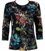Jess & Jane Flower Poem Black Knit Floral Blouse 3/4 Sleeve Scoop Neck Cotton