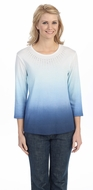 Jess & Jane - Gradient, Blue Knit Top 3/4 Sleeve Scoop Neck Rhinestone Accents