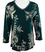 Jess & Jane - Lace Works Cotton Knit Top 3/4 Sleeve V-Neck Rhinestone Accents