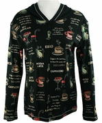 Jess & Jane, Long Sleeve, Rhinestone Highlights, Zippered Front, Black Fashion Hoodie Top - Coffee Collection