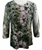 Jess & Jane - Lovely Lift, 3/4 Sleeve Scoop Neck Ruffled Sublimation Top