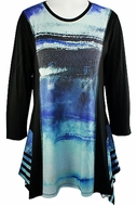Jess & Jane - Morning Fog, Sublimation Block Print Long Sleeve Scoop Neck Tunic
