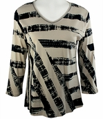 Jess & Jane - Natural Stripes, Natural Knit Top 3/4 Sleeve V-Neck Rhinestone Accents
