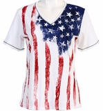Jess & Jane Old Glory Cotton White Top Flag Print 3/4 Sleeve V-Neck w Rhinestone