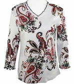 Jess & Jane - Paisley Dream, White Knit Top 3/4 Sleeve V-Neck Rhinestone Accents